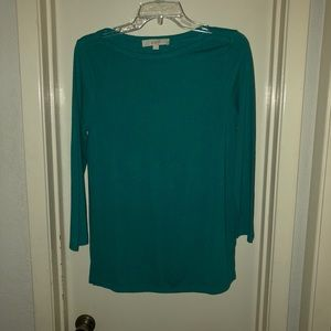 Ann Taylor Loft Teal Pullover Top with 3/4 Sleeves